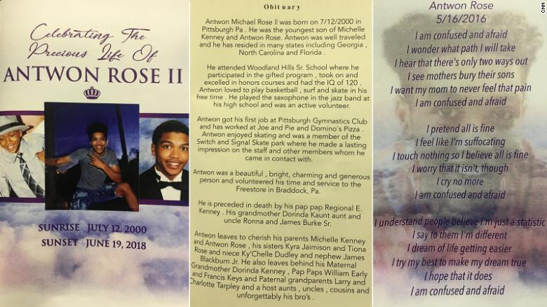 The program at Antwon Rose II's funeral featured images of him, an obituary and a poem he wrote.