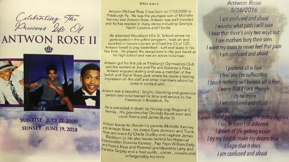 The program at Rose's funeral features images of him, an obituary and a poem he wrote.