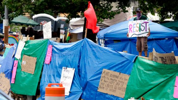 A encampment with the Occupy ICE movement is grown in front of Portland's U.S. Immigration and Customs Enforcement field offices.