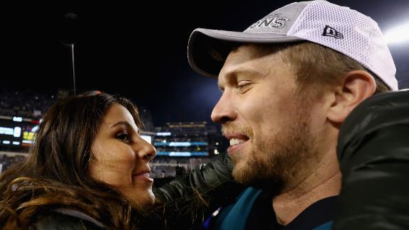 Tori Foles, left, and her husband, Nick Foles of the Philadelphia Eagles, celebrates after the NFC Championship game in January 2018.