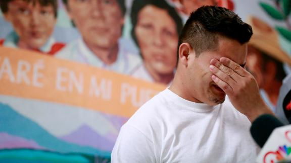 Christian, from Honduras, recounts his separation from his child at the border during a news conference at the Annunciation House, Monday, June 25, 2018, in El Paso, Texas. 32 parents waiting to be reconciled with their children have been released by Border Patrol the the Annunciation House. (AP Photo/Matt York)