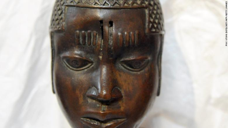Sixteenth-Century Head of a Queen mother of Benin loan to the Royal Academy of Arts in London by the National Commission for Museums and Monuments returned to Nigeria on January 16, 2013.