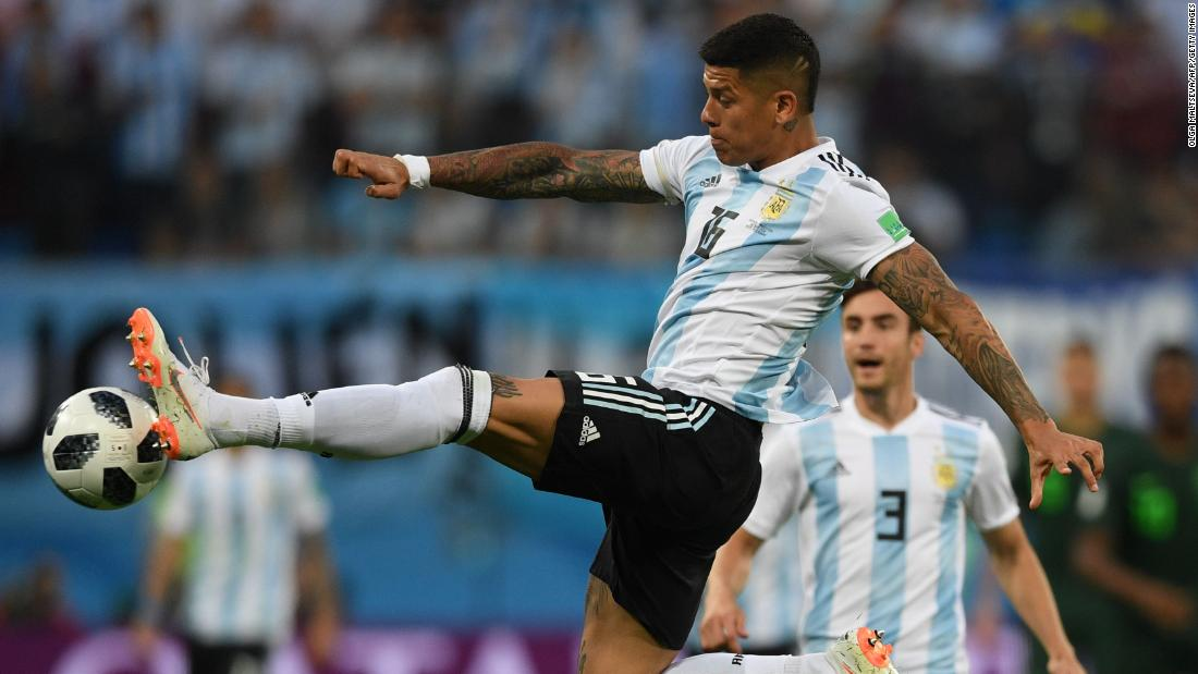 Rojo controls the ball earlier in the match against Nigeria.