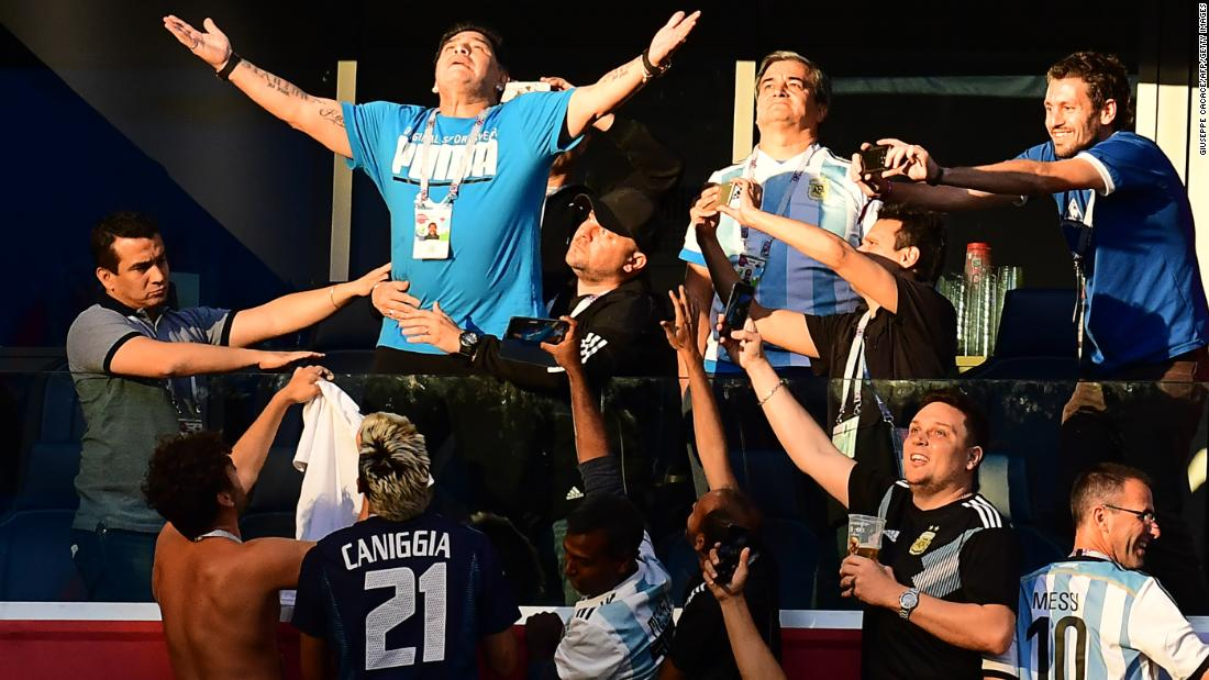 Argentina legend Diego Maradona was in the crowd once again, drawing attention from fans just like he did when he was a player.