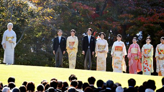The Japanese royal family photographed during the Autumn Garden Party at the Akasaka Imperial Garden in Tokyo on November 9, 2017.