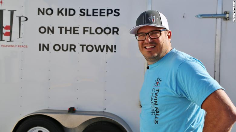 "The motto of Luke Mickelson's nonprofit, Sleep in Heavenly Peace, is ""No kid sleeps on the floor in our town."""