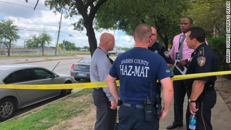 A Harris County Haz-Mat team evaluates the scene after an officer came into contact with a flyer that tested positive for fentanyl