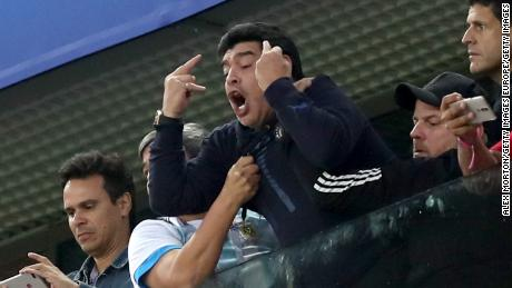 Diego Maradona Fine After Health Scare During Argentina Win Cnn