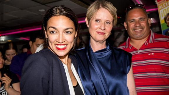 NEW YORK, NY - JUNE 26: Progressive challenger Alexandria Ocasio-Cortez is joined by New York gubenatorial candidate Cynthia Nixon at her victory party in the Bronx after upsetting incumbent Democratic Representative Joseph Crowly on June 26, 2018 in New York City. Ocasio-Cortez upset Rep. Joseph Crowley in New York