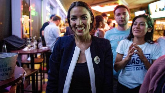 Alexandria Ocasio-Cortez, a 28-year-old Democratic Socialist who ousted 10-term incumbent Rep. Joe Crowley in New York's 14th congressional district, at her victory party in the Bronx, on June 26, 2018.  (David Dee Delgado/The New York Times)