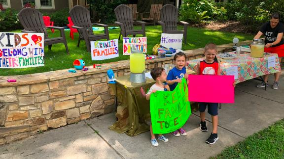 About 20 families got together to host the lemonade stand.