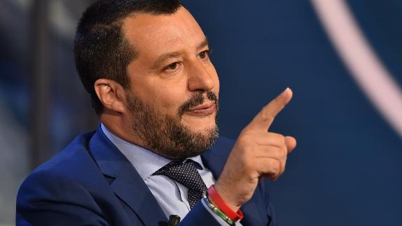 """Italy's Interior Minister and Deputy Prime Minister Matteo Salvini gestures as he speaks during the Italian talk show """"Porta a Porta"""", broadcast on Italian channel Rai 1, in Rome, on June 20. (Photo by Andreas SOLARO / AFP)        (Photo credit should read ANDREAS SOLARO/AFP/Getty Images)"""