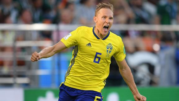 Ludwig Augustinsson celebrates after scoring Sweden