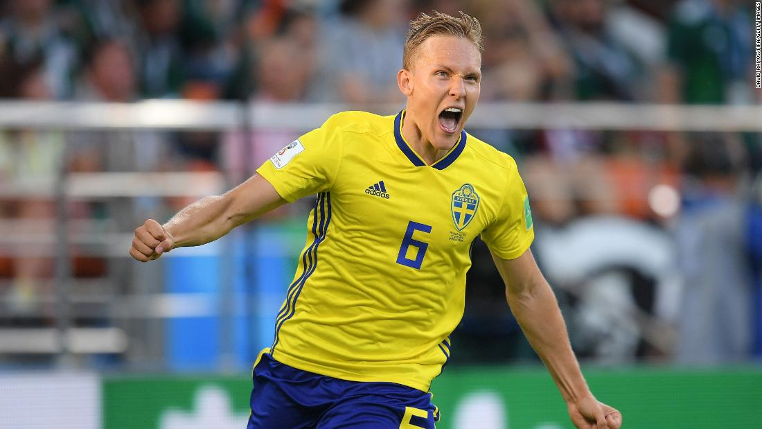 Ludwig Augustinsson celebrates after scoring Sweden's first goal in its 3-0 victory over Mexico on Wednesday. The result meant that Sweden would top Group F and Mexico would finish in second.