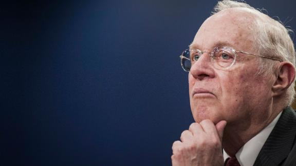 U.S. Supreme Court Justice Anthony Kennedy pauses while testifying during a Financial Services and General Government Subcommittee in Washington, D.C., U.S., on Monday, March 23, 2015. Sprinting toward their spring recess, the House and Senate will separately consider budget blueprints, perhaps leading to the first joint congressional budget in six years. Photographer: Pete Marovich/Bloomberg via Getty Images