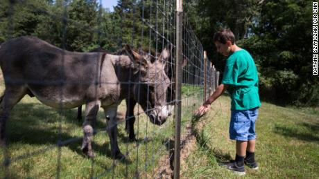 "The family tries to provide Trevor with as ""normal"" a life as possible. Here, Trevor visits donkeys on a family outing at a nearby farm."