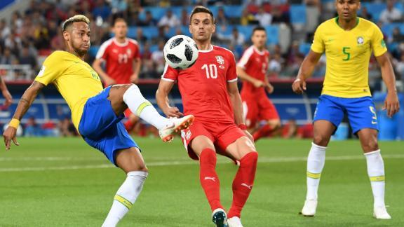 Brazilian star Neymar controls the ball during the Serbia match.