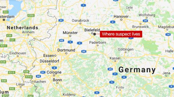 A map of Germany, tagging where a suspect lives in a recent investigation over poisoned food.