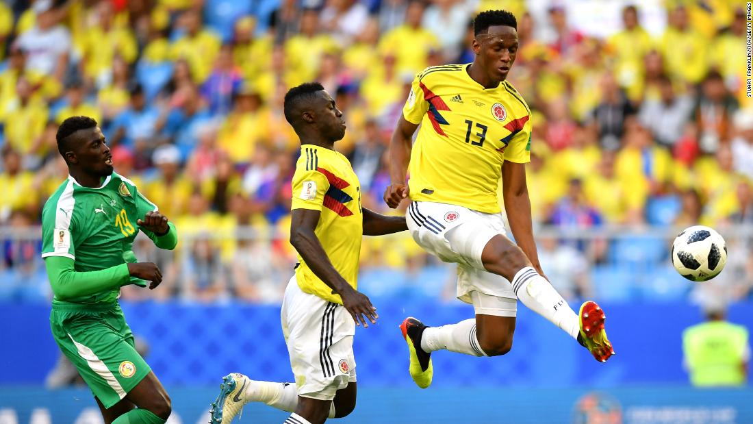 Colombian defender Yerry Mina controls the ball during the match against Senegal. Mina headed in a second-half goal to lift his team to a 1-0 victory -- and first place in Group H.
