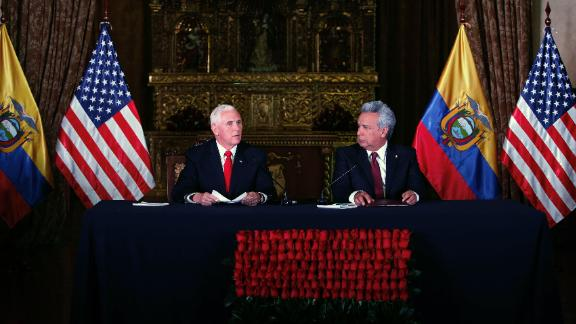 US Vice President Mike Pence and Ecuadoran President Lenin Moreno give a joint statement in Quito