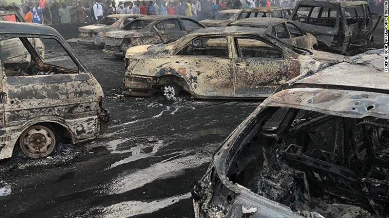 Rescue teams from the Federal Road Safety Corps Nigeria at the scene of the oil tanker explosion on the Lagos-Ibadan bridge, Lagos State, Nigeria on June 28, 2018.