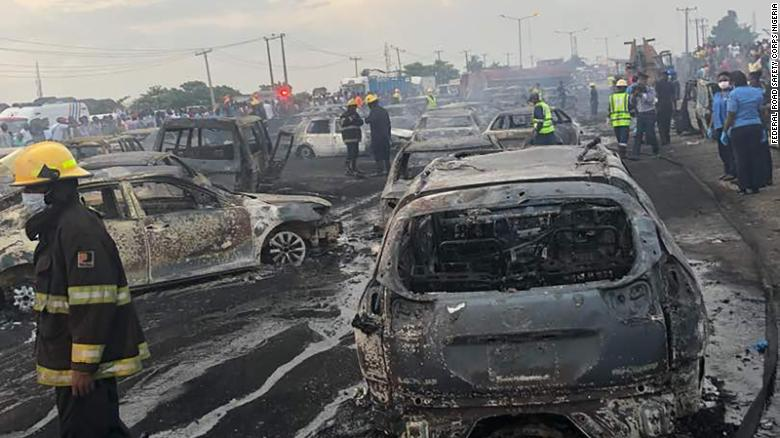 Rescue teams at the scene of the oil tanker explosion on the Lagos-Ibadan bridge, Lagos State, Nigeria on June 28, 2018.