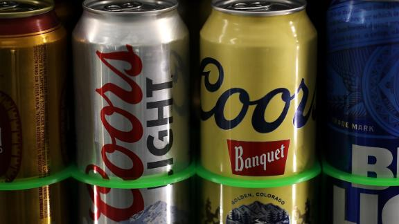 FAIRFAX, CA - MAY 02:  Cans of Coors  beer are displayed on a shelf at a liquor store on May 2, 2018 in Fairfax, California. Molson Coors Brewing Co. reported first quarter earnings that fell short of analyst expectations of $2.44 billion with revenue of $2.33 billion.  (Photo by Justin Sullivan/Getty Images)