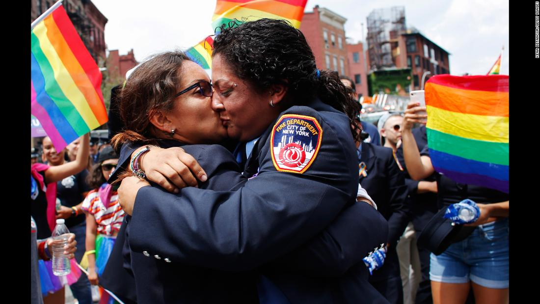 Trudy Bermudez and Tayreen Bonilla get engaged at the annual Pride Parade in New York on Sunday, June 24.