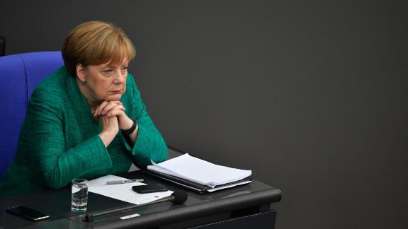 German Chancellor Angela Merkel attends a session at the Bundestag (lower house of parliament) on June 28, 2018 in Berlin. - Merkel warned that the migration challenge could determine Europe's fate, hours ahead of a Brussels summit with EU leaders expected to clash over the way forward. (Photo by John MACDOUGALL / AFP)        (Photo credit should read JOHN MACDOUGALL/AFP/Getty Images)