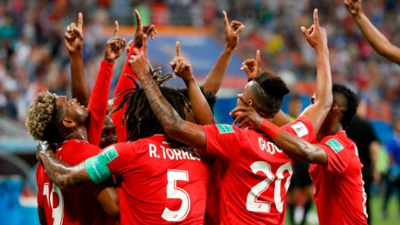 Panama players celebrate after an own goal gave them an early lead against Tunisia.