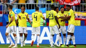 SAMARA, RUSSIA - JUNE 28: Yerry Mina of Colombia celebrates with teammates after scoring his team's first goal during the 2018 FIFA World Cup Russia group H match between Senegal and Colombia at Samara Arena on June 28, 2018 in Samara, Russia. (Photo by Dean Mouhtaropoulos/Getty Images)