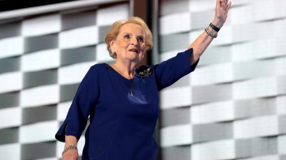 PHILADELPHIA, PA - JULY 26:  Former secretary of state Madeleine Albright waves to the crowd after delivering remarks on the second day of the Democratic National Convention at the Wells Fargo Center, July 26, 2016 in Philadelphia, Pennsylvania. Democratic presidential candidate Hillary Clinton received the number of votes needed to secure the party's nomination. An estimated 50,000 people are expected in Philadelphia, including hundreds of protesters and members of the media. The four-day Democratic National Convention kicked off July 25.  (Photo by Drew Angerer/Getty Images)