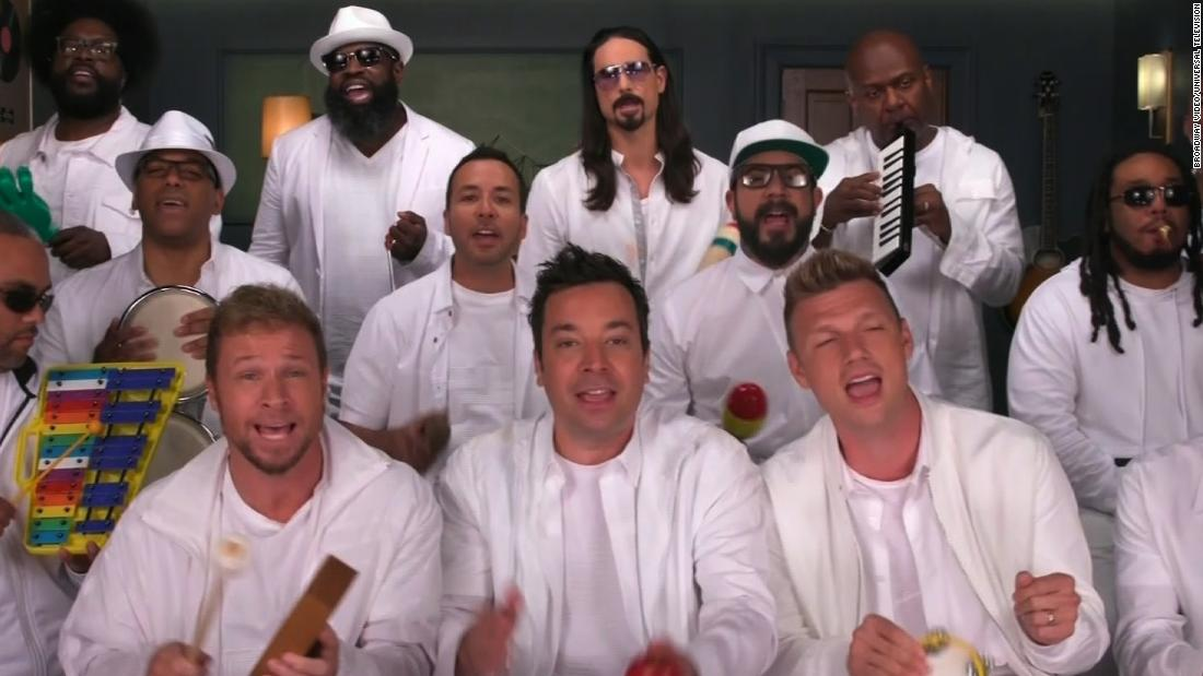 Backstreet Boys recreate their classic hit with classroom instruments because they want it that way