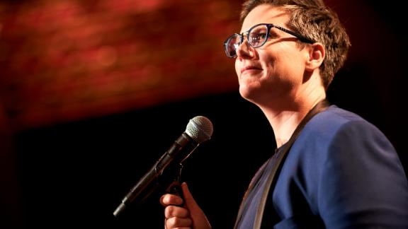 Hannah Gadsby on stage in her Netflix stand-up special.