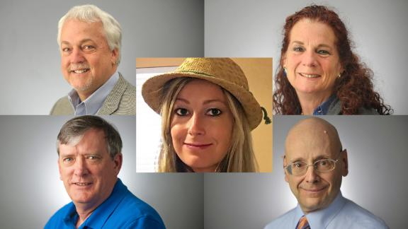 Clockwise from top left: Robert Hiaasen, Wendi Winters, Gerald Fischman, John McNamara and Rebecca Smith (center.)