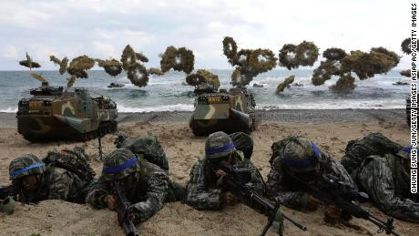 South Korean Marines participate in the landing as foals Eagle Joint referred to military exercise with US troops Pohang Coast on April 2, 2017 in Pohang, South Korea