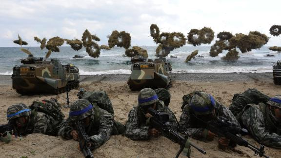 South Korean marines participate in landing operation referred to as Foal Eagle joint military exercise with US troops Pohang seashore on April 2, 2017 in Pohang, South Korea.
