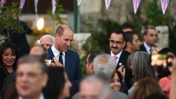 Prince William speaks during a reception in the residence of the British Consul General in Jerusalem.