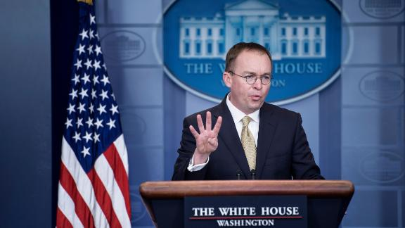 Mick Mulvaney, who is now Acting White House chief of staff, speaks during a briefing at the the White House in January 2018. Brendan Smialowski/AFP/Getty Images