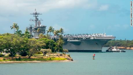 The aircraft carrier USS Carl Vinson (CVN 70) enters Pearl Harbor in preparation for Exercise Rim of the Pacific (RIMPAC) 2018. Twenty-five nations, more than 45 ships and submarines, about 200 aircraft, and 25,000 personnel are participating in RIMPAC from June 27 to Aug. 2 in and around the Hawaiian Islands and Southern California.