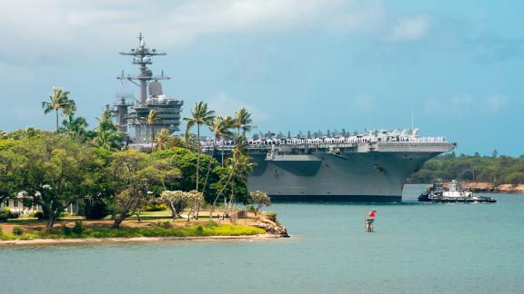 180626-N-CZ893-2411 PEARL HARBOR (June 26, 2018) The aircraft carrier USS Carl Vinson (CVN 70) enters Pearl Harbor in preparation for Exercise Rim of the Pacific (RIMPAC) 2018. Twenty-five nations, more than 45 ships and submarines, about 200 aircraft, and 25,000 personnel are participating in RIMPAC from June 27 to Aug. 2 in and around the Hawaiian Islands and Southern California. The world