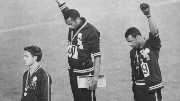 Tommie  Smith  and  John  Carlosby  Unidentified  ArtistGelatin  silver  print1968National  Portrait  Gallery,  Smithsonian  Institution;  acquired  through  the  generosity  of  David  C.  Ward