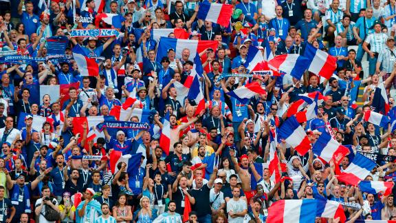 France fans celebrate during the match against Argentina.