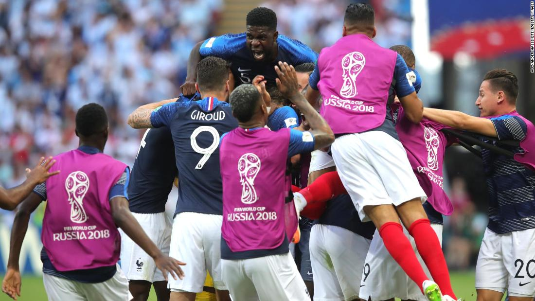 French players celebrate after Benjamin Pavard tied the match at 2-2.  Photos  The best photos of the 2018 World Cup abf294605