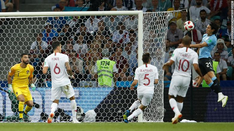 Cavani's header was his 44th for Uruguay