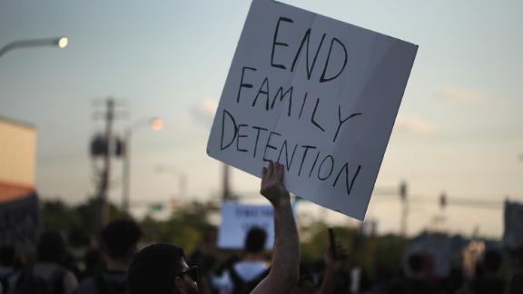 CHICAGO, IL - JUNE 29:  Demonstrators hold a rally in the Little village neighborhood calling for the elimination of the U.S. Immigration and Customs Enforcement (ICE) and an end to family detentions on June 29, 2018 in Chicago, Illinois. Protests have erupted around the country recently as people voice outrage over the separation and detention of undocumented children and their parents.  (Photo by Scott Olson/Getty Images)