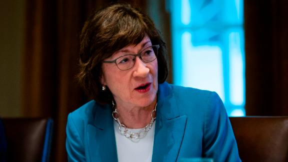 WASHINGTON, DC - JUNE 26:  U.S. Sen. Susan Collins (R-ME) attends a lunch meeting for Republican lawmakers in the Cabinet Room at the White House June 26, 2018 in Washington, DC. The president called the Supreme Court