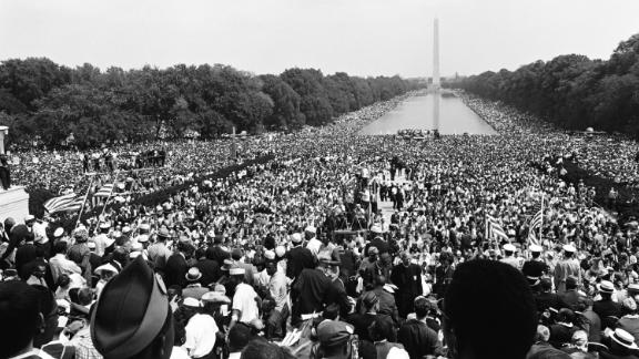 Crowds gather at the National Mall during the March on Washington for Jobs and Freedom political rally in Washington, DC on August 28, 1963.