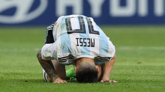 Lionel Messi of Argentina reacts during his team