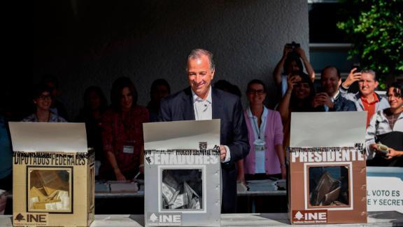 """Jose Antonio Meade of the  """"Todos por Mexico"""" coalition party casts his vote during general elections in Mexico City."""